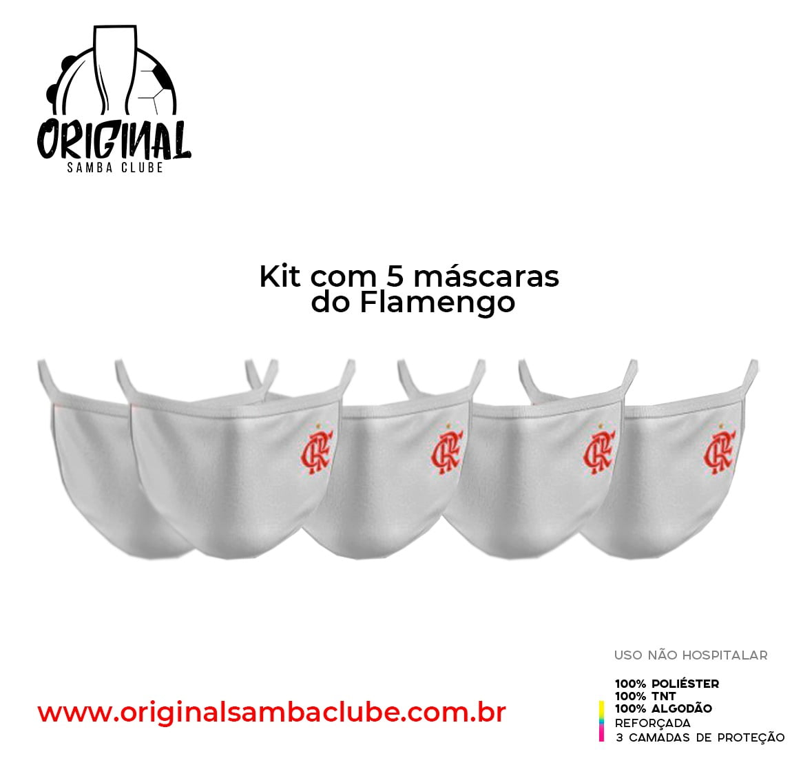 KIT com 5 máscaras do Flamengo brancas
